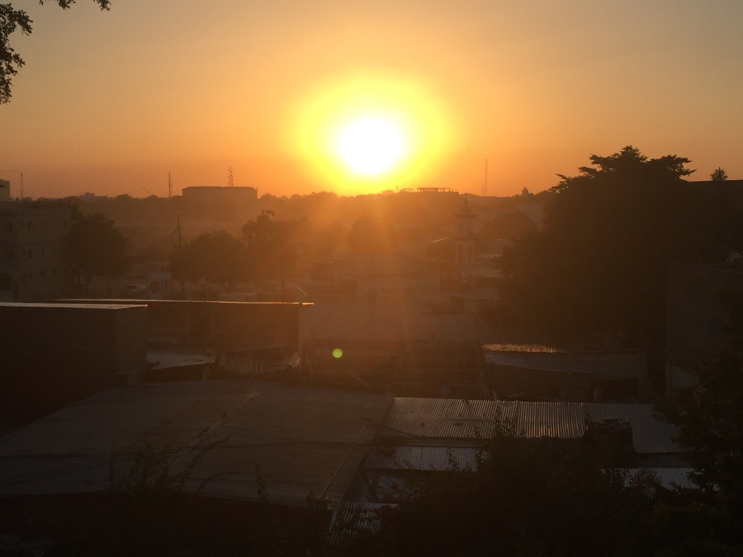 The sun setting over the N'djamena, the capital of Chad.