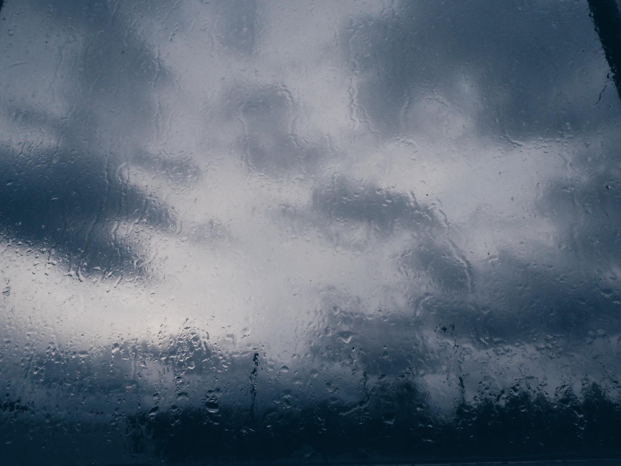 Grey rain on a window