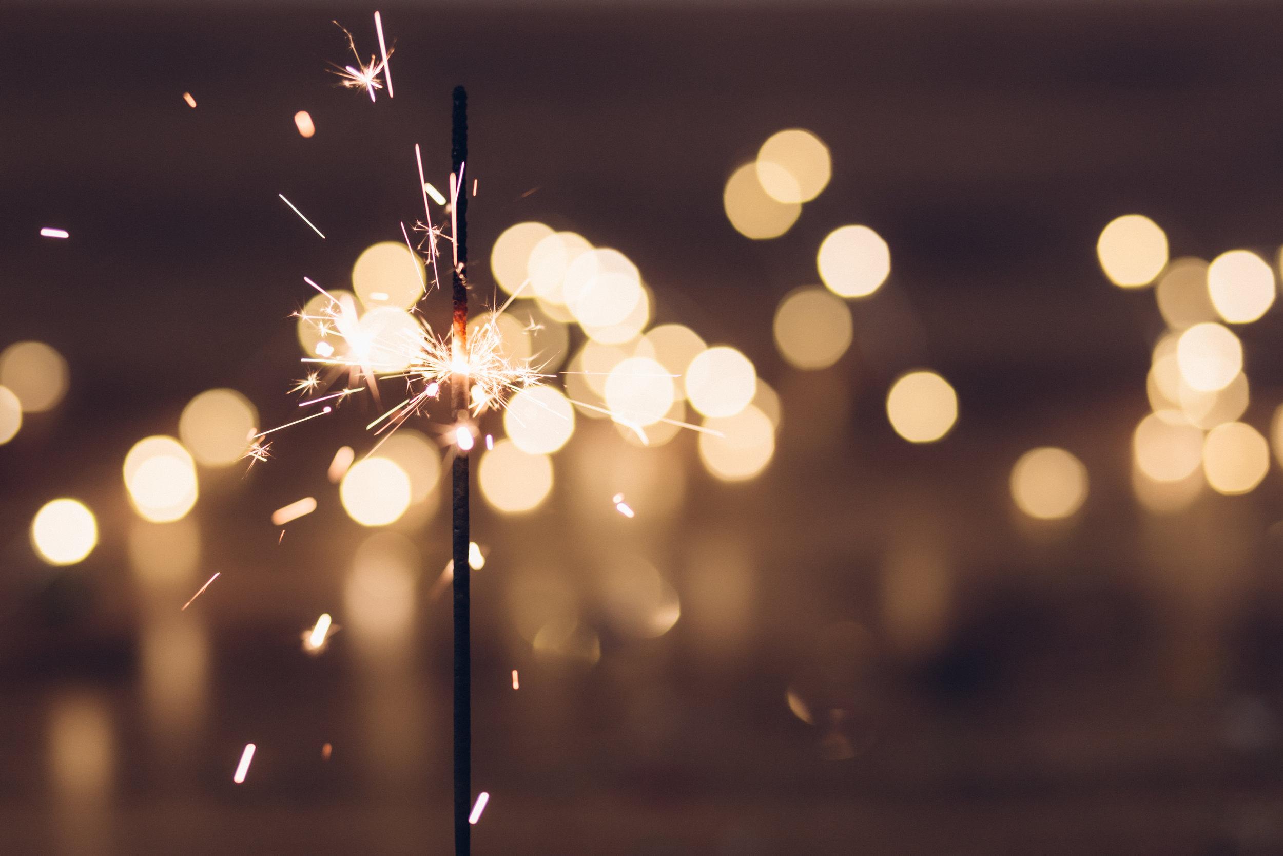 sparkler lighted