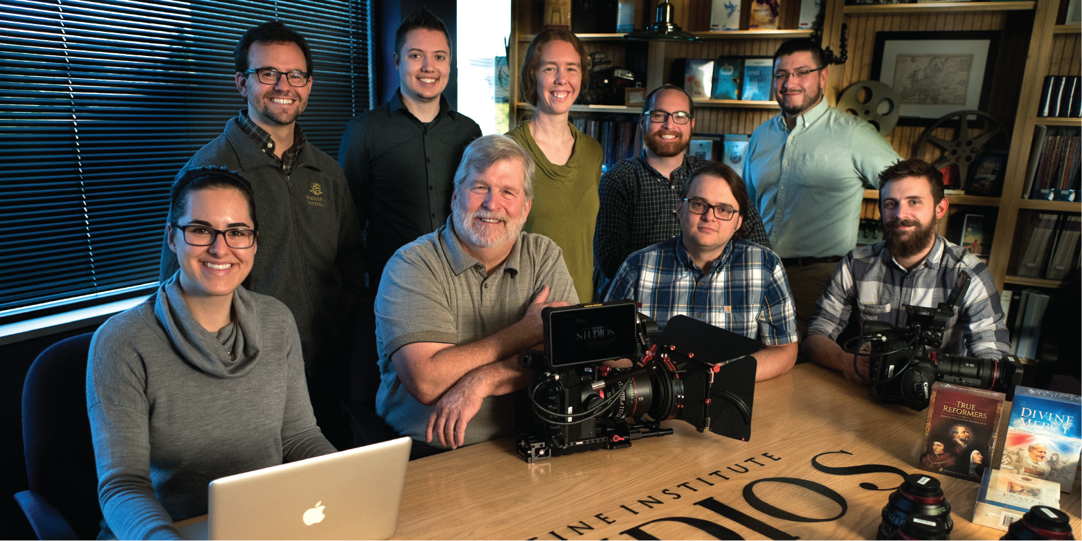 The Augustine Institute Studio team. From left to right: Aurora Cerulli, Ted Mast, Matthew Krekeler, Steve Flanigan, Constance Graves, Jon Ervin, Justin Leddick, Michael Sanchez, Kevin Mallory.
