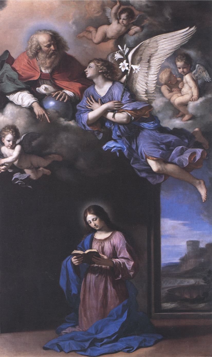 Guercino's  Annunciation (1648, Forli Art Museum) depicts not the Annunciation  per se , but rather the moment just before the angel Gabriel appears to Mary.