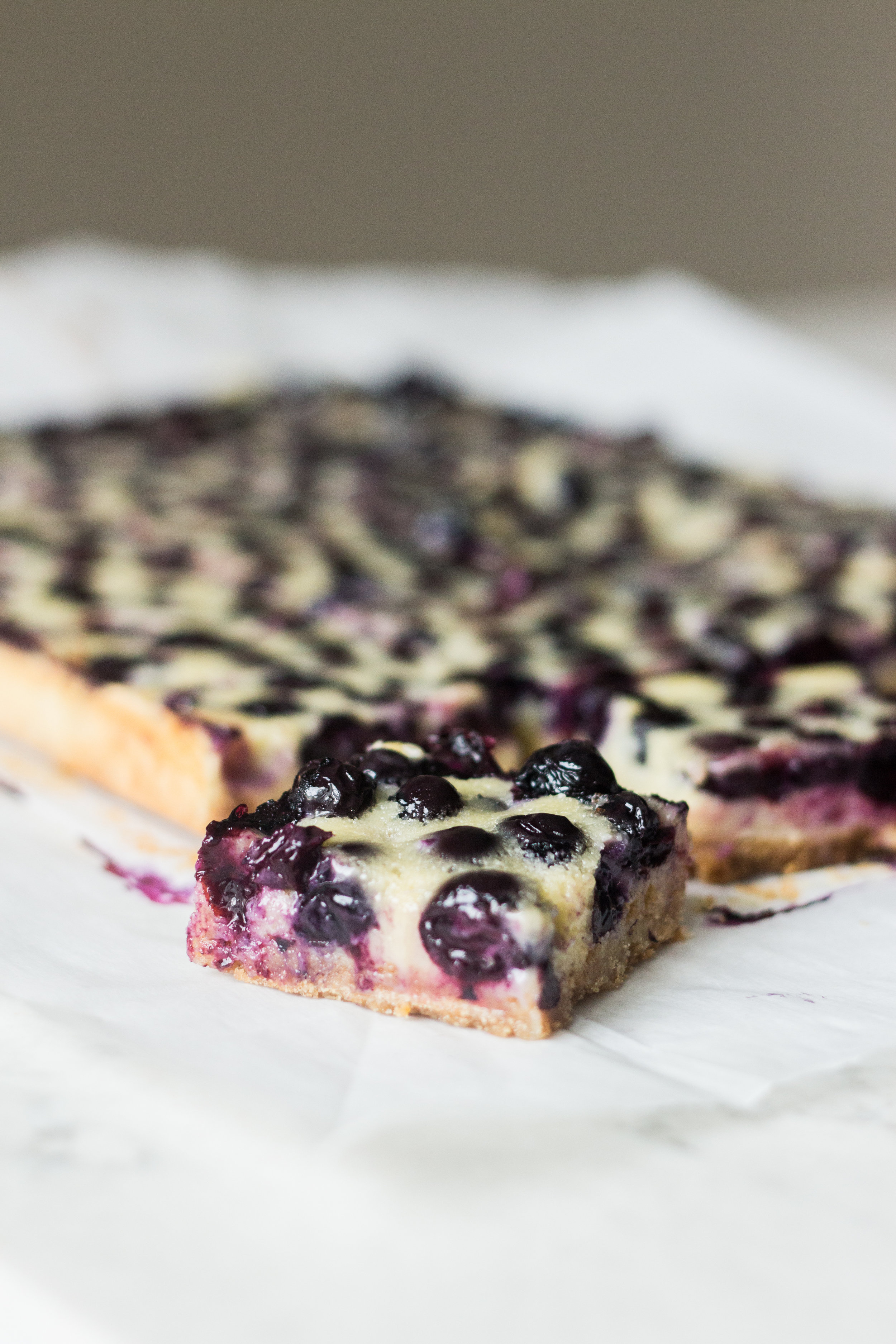 blueberry custard pie bars - makes one 9x13-inch panfrom butter bakingcrust2 cups graham cracker crumbs (28 squares)1/4 cup granulated sugar1/2 cup (1 stick) unsalted butter, meltedcustard filling3 eggs1 1/4 cups granulated sugar3/4 cups sour cream1/2 cup + 2 tablespoons all-purpose flour3 tablespoons cornstarchpinch salt1 teaspoon vanilla extract18 oz blueberries, fresh is preferred