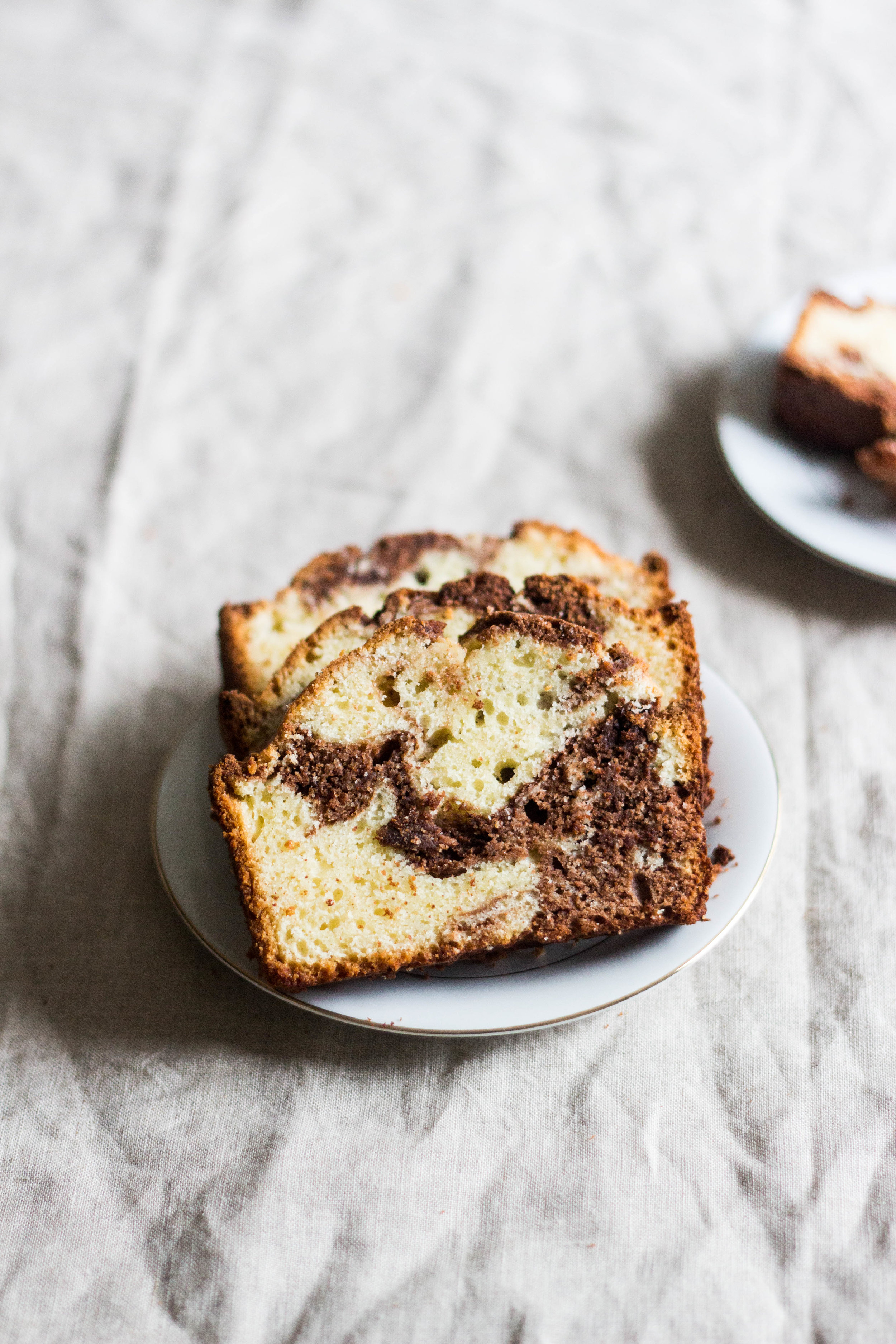 chocolate vanillamarble loaf cake - from Pretty. Simple. Sweet.makes one loaf cake1¾ cups all-purpose flour1½ teaspoons baking powder½ teaspoon salt¾ cup unsalted butter, at room temp1¼ cups granulated sugar3 large eggs, at room temp1 teaspoon pure vanilla extract2/3 cup whole milk, buttermilk, or sour cream4 oz bittersweet or semisweet chocolate, melted*