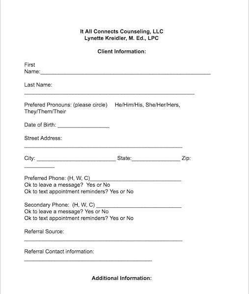 Client consent form