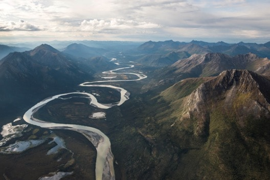 aerial view river mountains