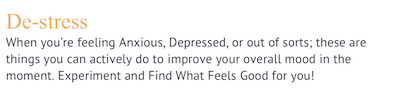 Screenshot of the definition of destressing