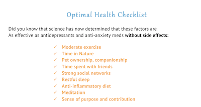 Optimal Health Checklist screenshot