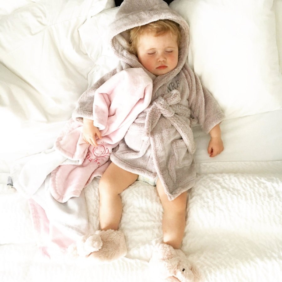 Nina will sleep if the above conditions are met.. She loves a good robe.