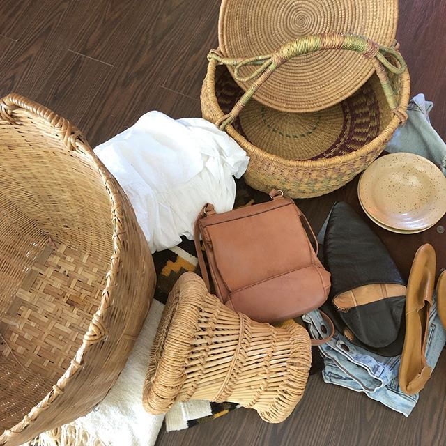 Some new //finds// starting to add up while we collect for this weekends upcoming show! Jazz Festival, Saturday June 22nd from 1-9pm. ✌️✌️✌️ • • • #bohostyle #howyouhome #jungalowstyle #finditstyleit #fleamarketstyle #boho #bohemian #rattan #basketwall #basket #basketcollection #bamboo #thriftscore #woven #texture #wicker #showmeyourboho #shopsmall #zolafinds #ottawa #handmade #worn #gentlyloved #motherearth #vintageclothing #earthtones #folkstyle #ethicalfashion #earthpalette #repurposedclothing