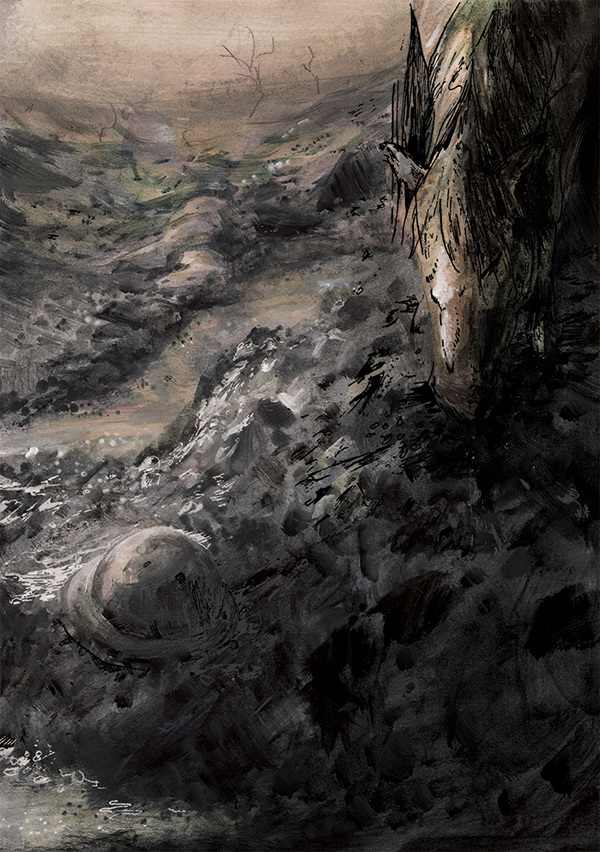 """I stood at last... beside a foul-smelling, water-filled crater, and I sniffed the ground in vein for something to eat."""