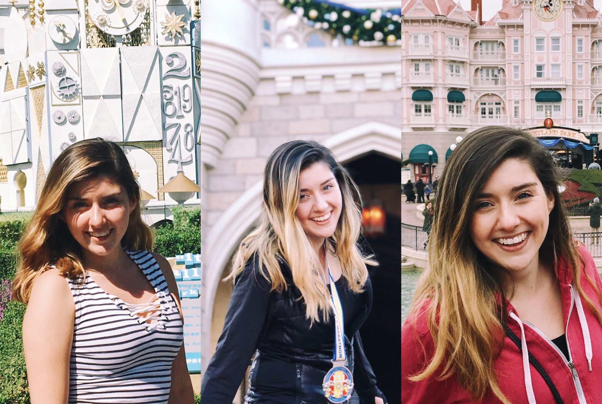 "(Left to Right) Disneyland in September, Walt Disney World in January, Disneyland Paris in March This montage is also known as ""Watch my highlights grow out!"""