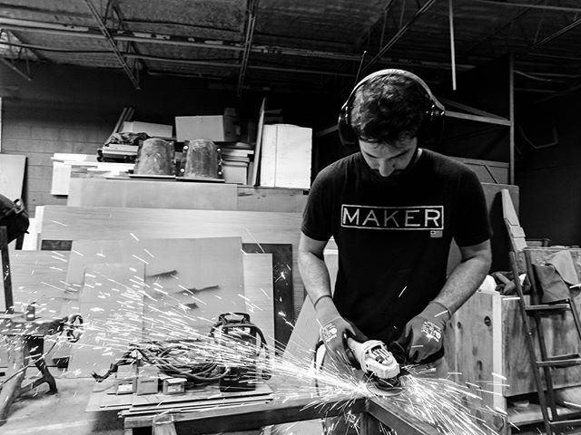Making sparks fly in the studio. Finishing can be a delicate and nuanced skill, even if the tools are not. #studio