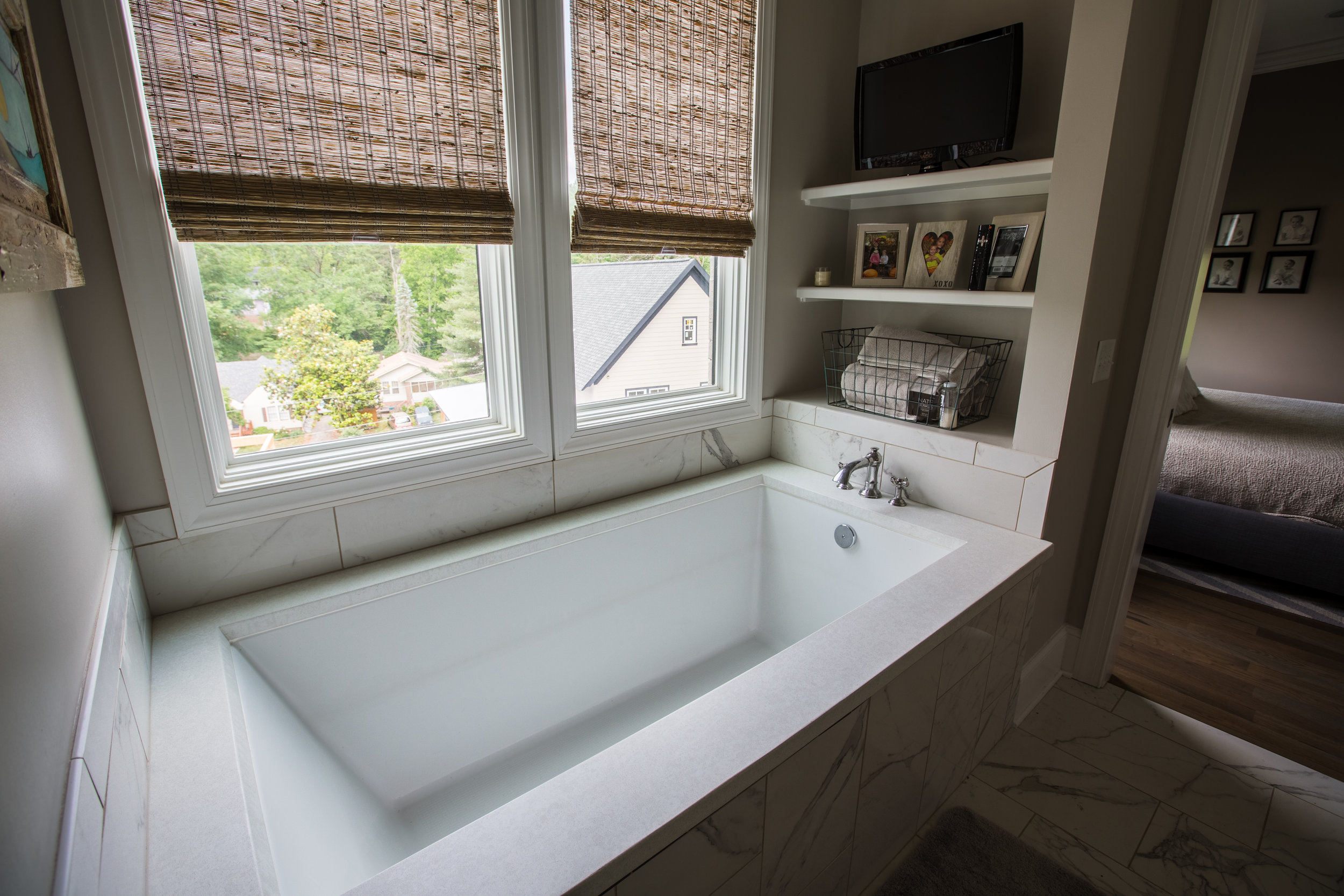 Sometimes an unassuming bath surrounds is all you need. Use what works.  #residential