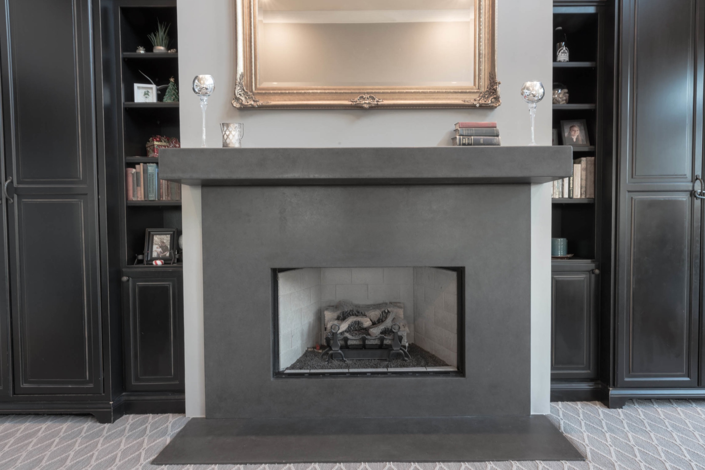 An elegant concrete mantel and fire surround. #furniture