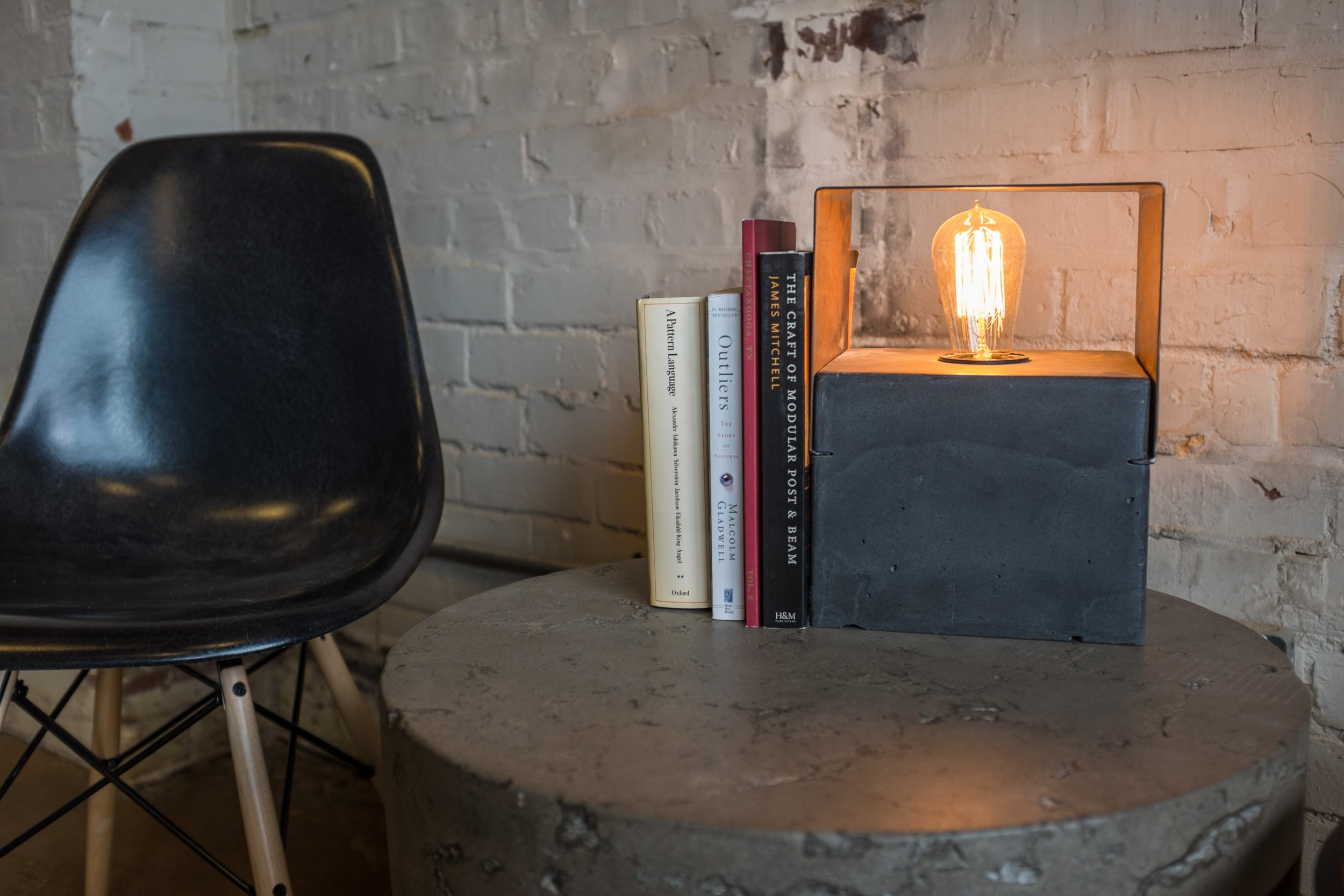 This is a small table lamp we put together based on our side table, the Wallace. These were produced in a limited run. If you are interested, give us a call. We may have a few left around the studio.  #furniture