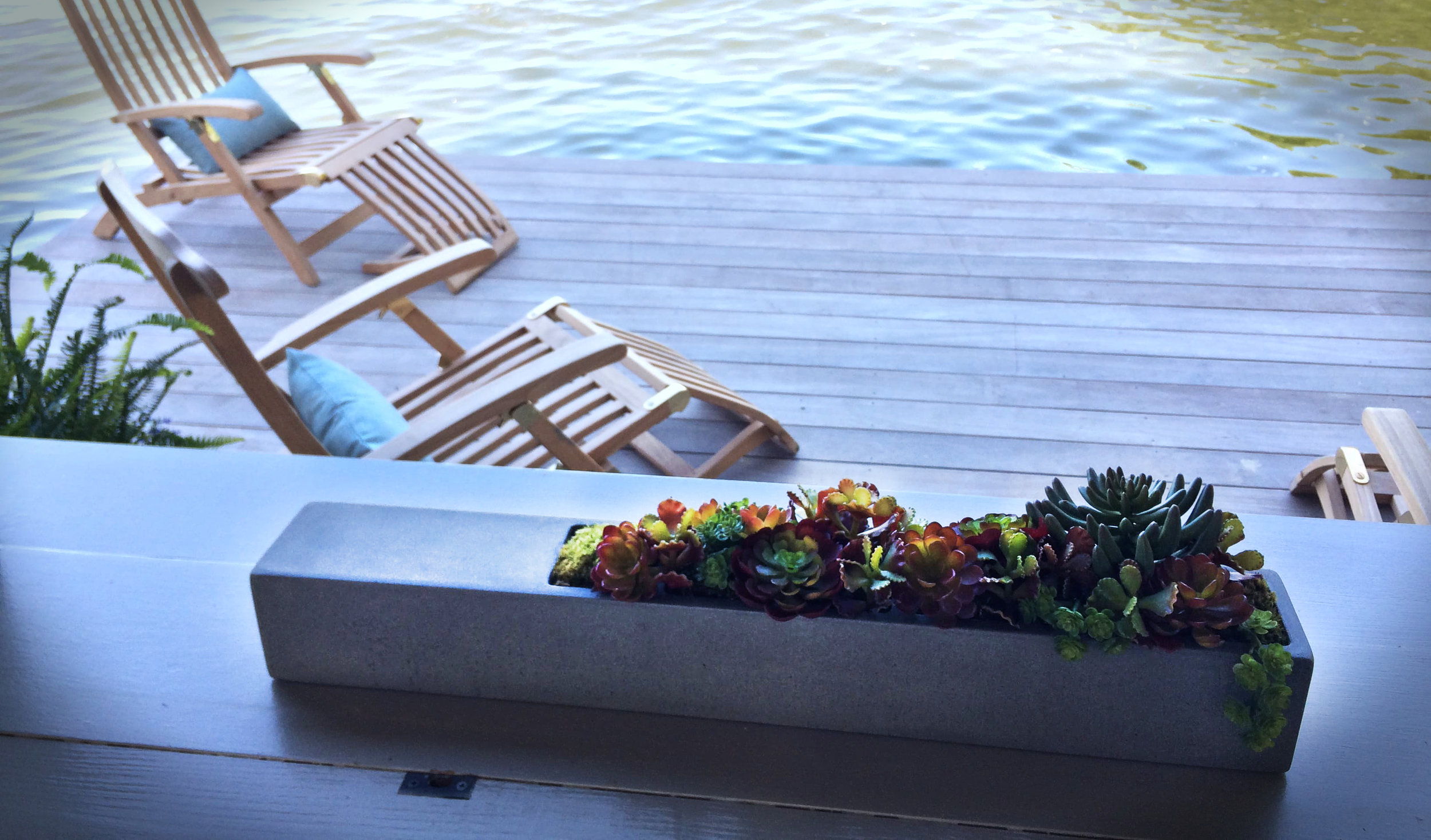 A medium tabletop planter, seen here enjoying time by the lake. This planter comes in multiple sizes and can be found in our store here:   tabletop planters  .