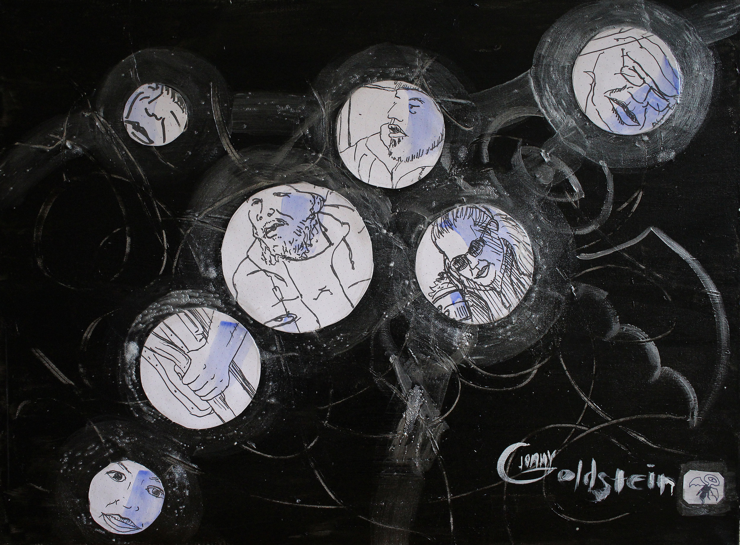 Title: Subway Bubbles: Flying Cyclops. MIxed Media: acryclic, Xerographs, and glass beads on canvas.