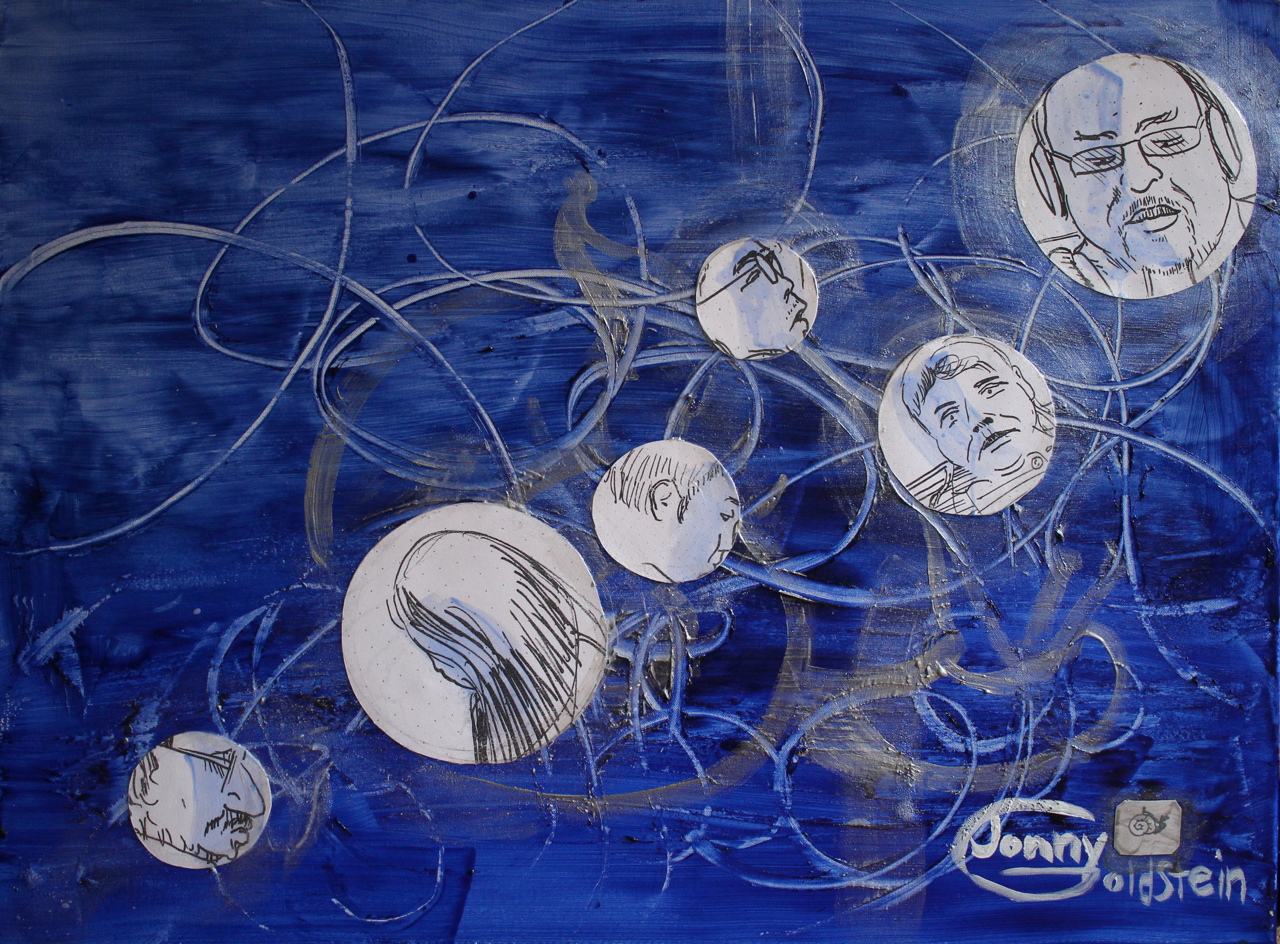 Title: Subway Bubbles: Sea Snailrider.. MIxed Media: acryclic, Xerographs, and glass beads on canvas.