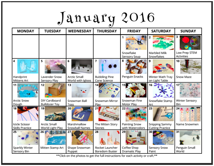 A calendar of fun from lalymom.com