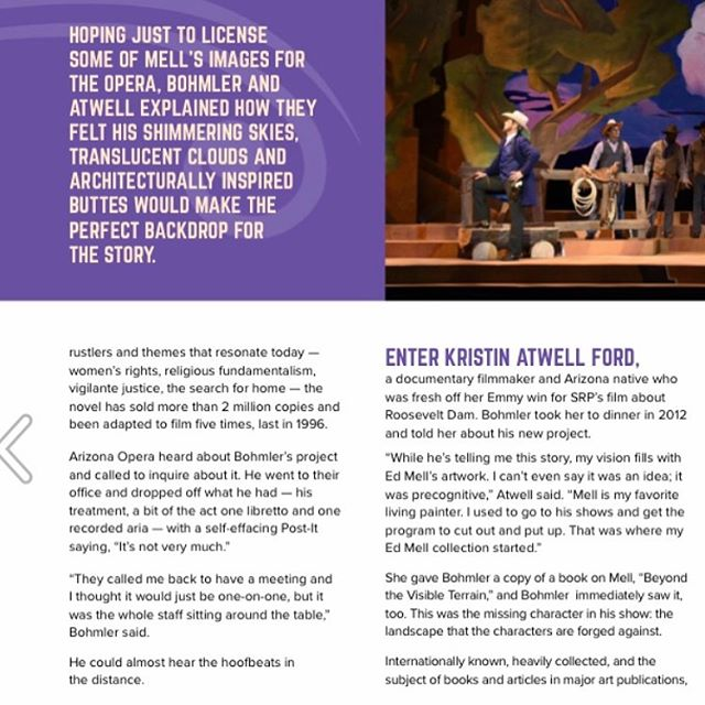 "Congratulations to our in-house producer Kristin Atwell Ford for a cover story about our forthcoming documentary film, ""Riders of the Purple Sage: The Making of a Western Opera""! 👏🏽👏🏽👏🏽 #frontdoorsmedia • • #ridersofthepurplesage #opera #documentary #film #cowboys #zanegrey #edmell #literature #musicaltheatre #american #arizona #classicalmusic #westernart #art #modernopera"