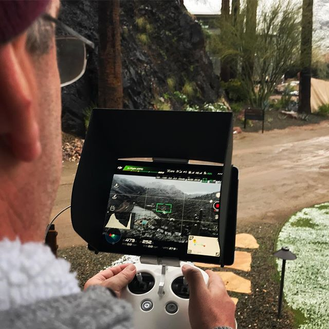Behind the scenes of our documentary about Arizona's first resort. @qlpdigital on location at Castle Hot Springs getting a bird's eye view from the snowy ground. #onlocation #arizona #documentary #film #drone #dgi #inspire