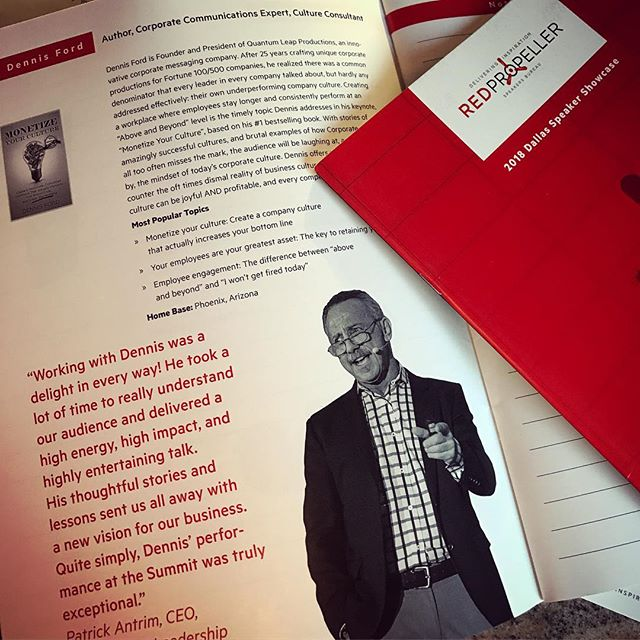 "Kudos to our Founder Dennis Ford for a strong showing with his keynote ""Monetize Your Culture"" at the Red Propeller Speakers' Showcase in Dallas! #monetizeyourculture #corporateculture #redpropeller #speaker #showcase #keynote #keynotespeaker #employees #workplace #teambuilding #joy #respect #qlpnow"