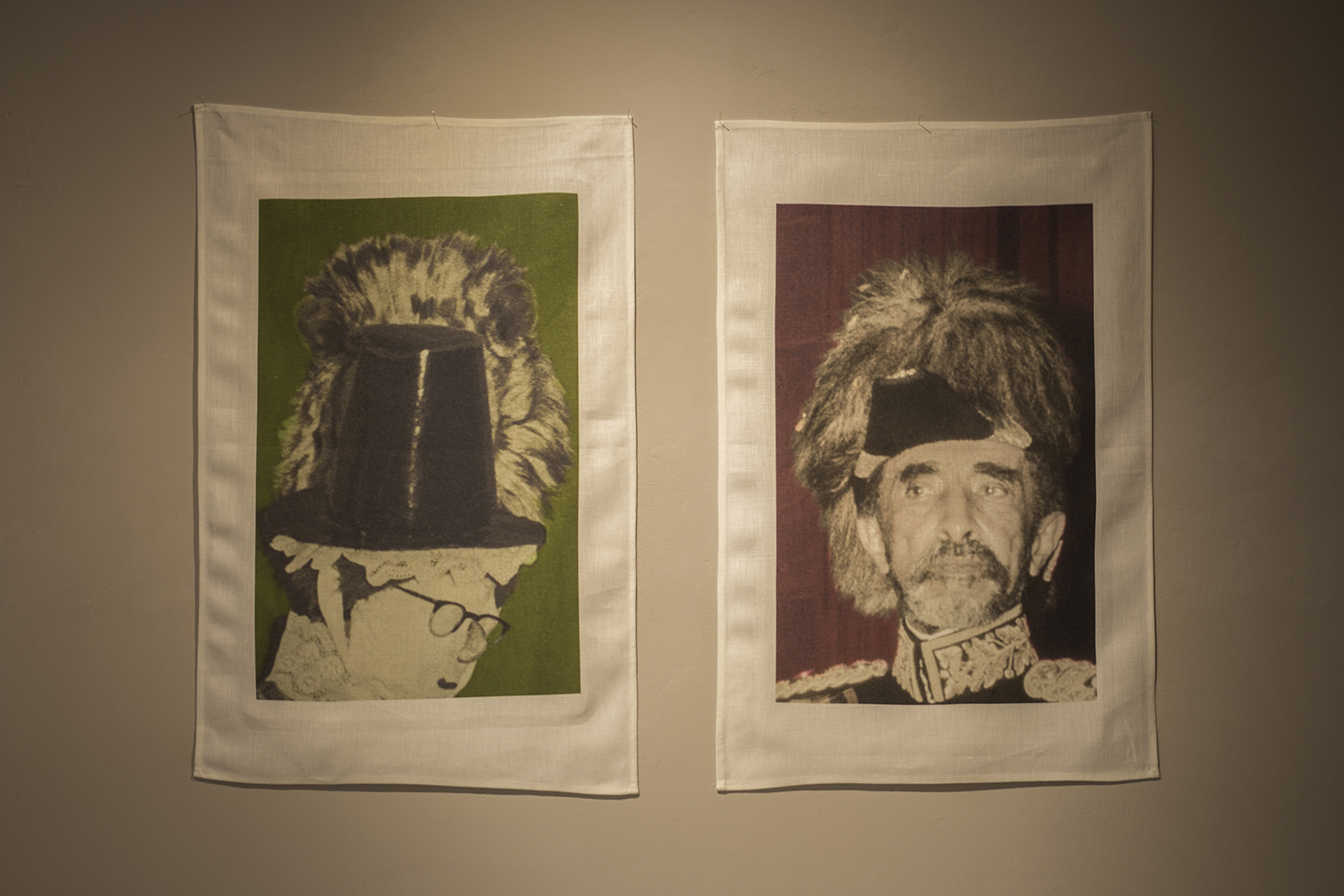 welsh lady lion, haile selassie lion, digital prints on linen teatowels, 2018 (image: luca cole)