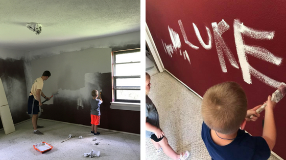Jeff painting with the kids.
