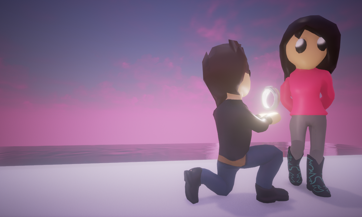 A game which walks the player through the memories of a relationship between two individuals. Which ends with a proposal for marriage.
