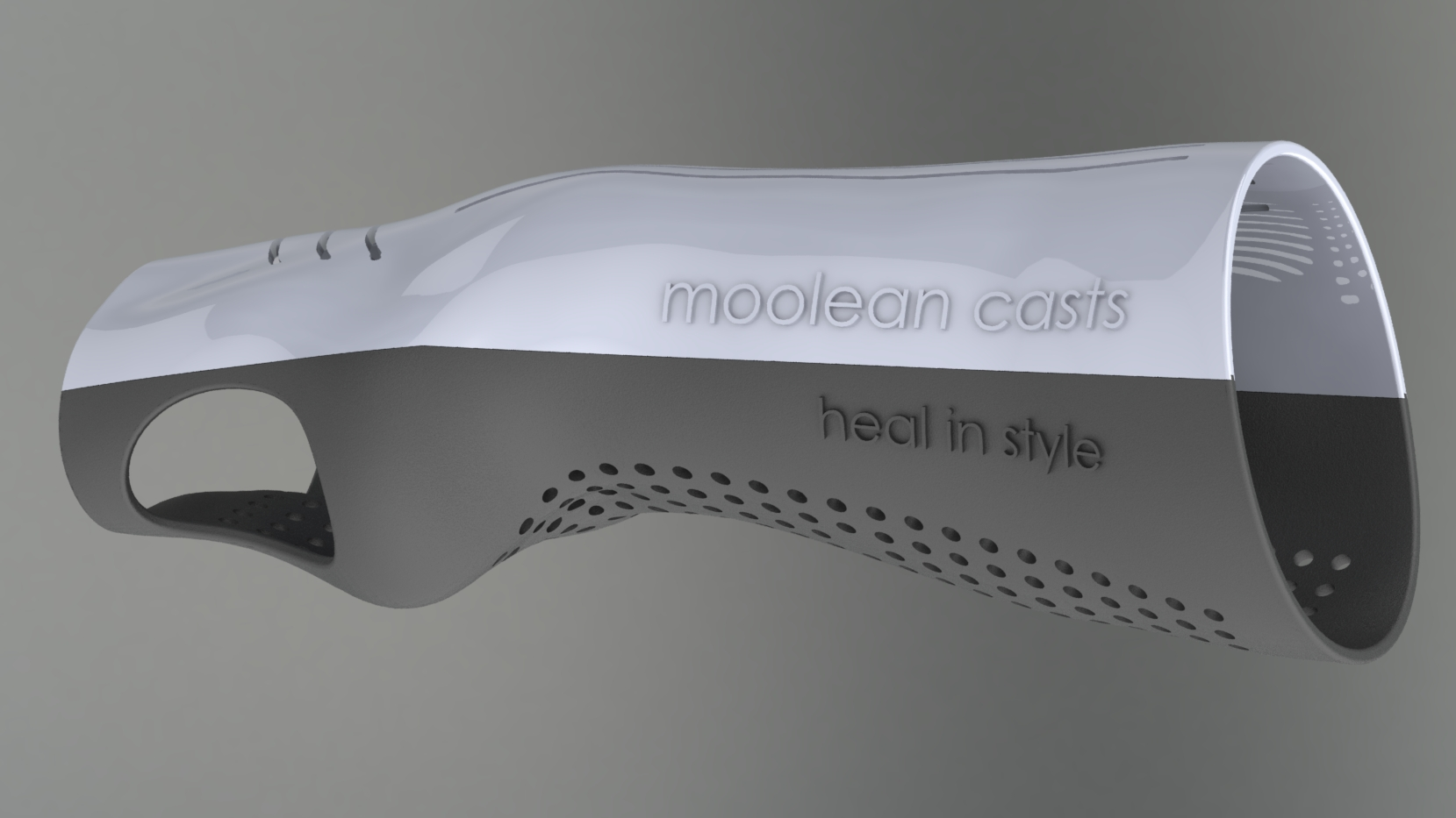 3D design of a wrist cast generated from a 3D scan of the wrist area.