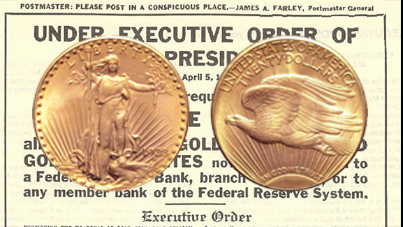 - One of the most rare and well-known coins in all of U.S. history is the 1933 Saint Gaudens Double Eagle - a $20 gold coin that, by several accounts, shouldn't even be in existence.In 1933, with the Depression in full swing, President Roosevelt took the country off the gold standard and recalled all gold coins for melting. About a dozen never made it back to the mint or were smuggled out again by enterprising employees, including this one, which resurfaced in 1992 and was confiscated by the Secret Service. In 1933 it had a face value of $20;in 2002, it was sold at auction for over 7 million dollars.