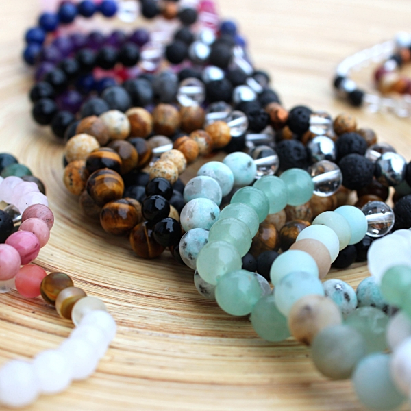 Diffuser Mala Bracelets made with genuine gemstone beads