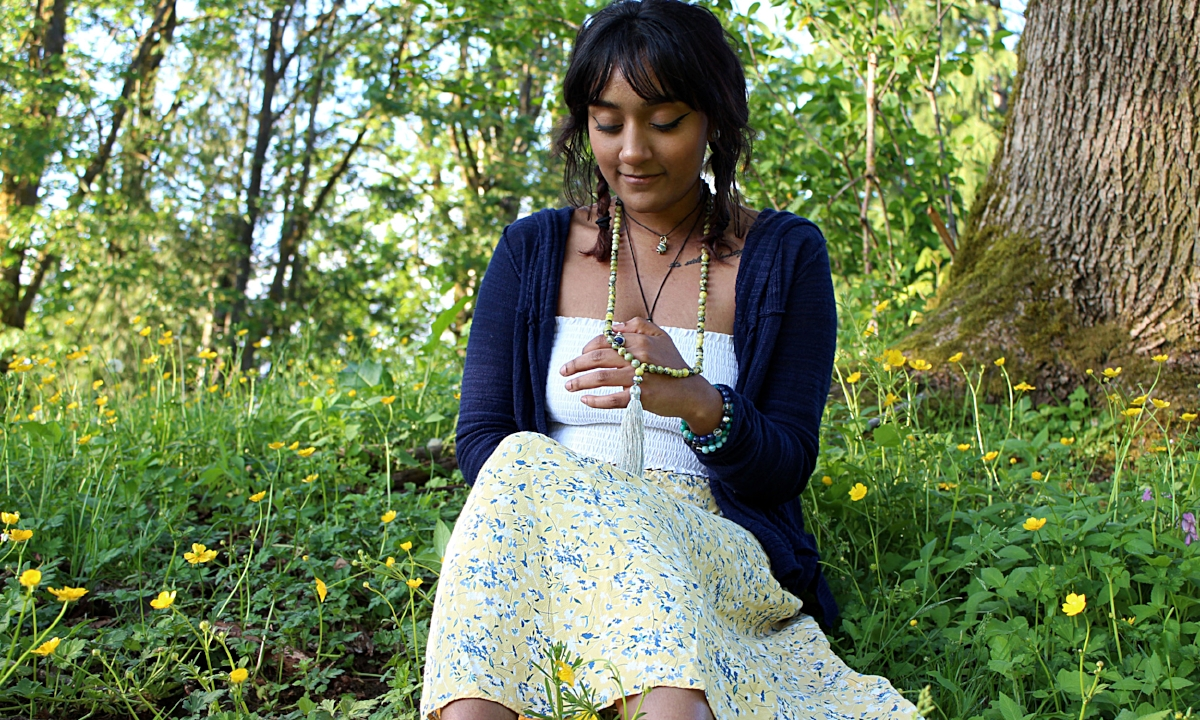 I Am Blessed Mala Beads woman meditating with Mala Beads