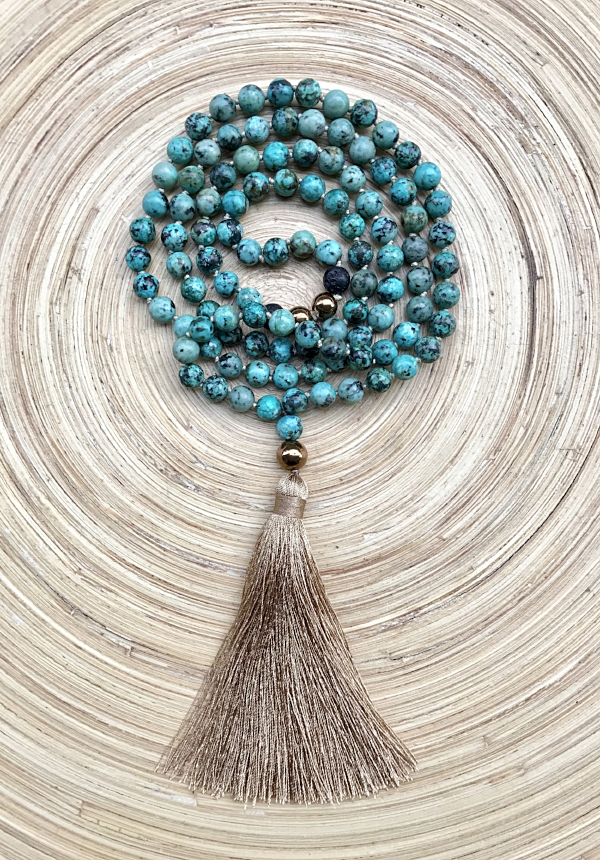 I Am Compassionate tassel mala necklace made with 108 african turquoise beads including lava beads for essential oil use