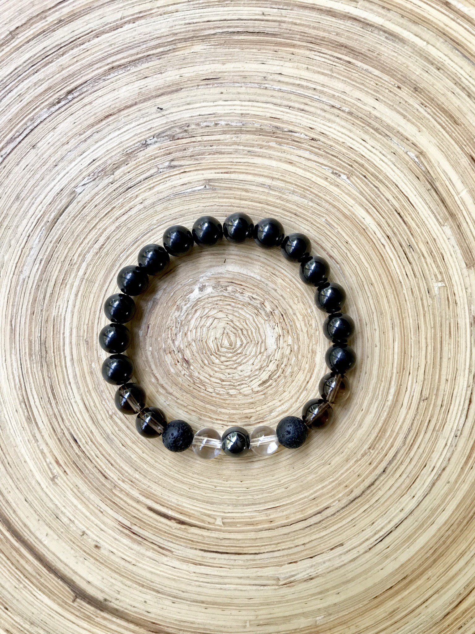 I Am Fearless Mala Bracelet made with Shungite and Lava Beads for Aromatherapy
