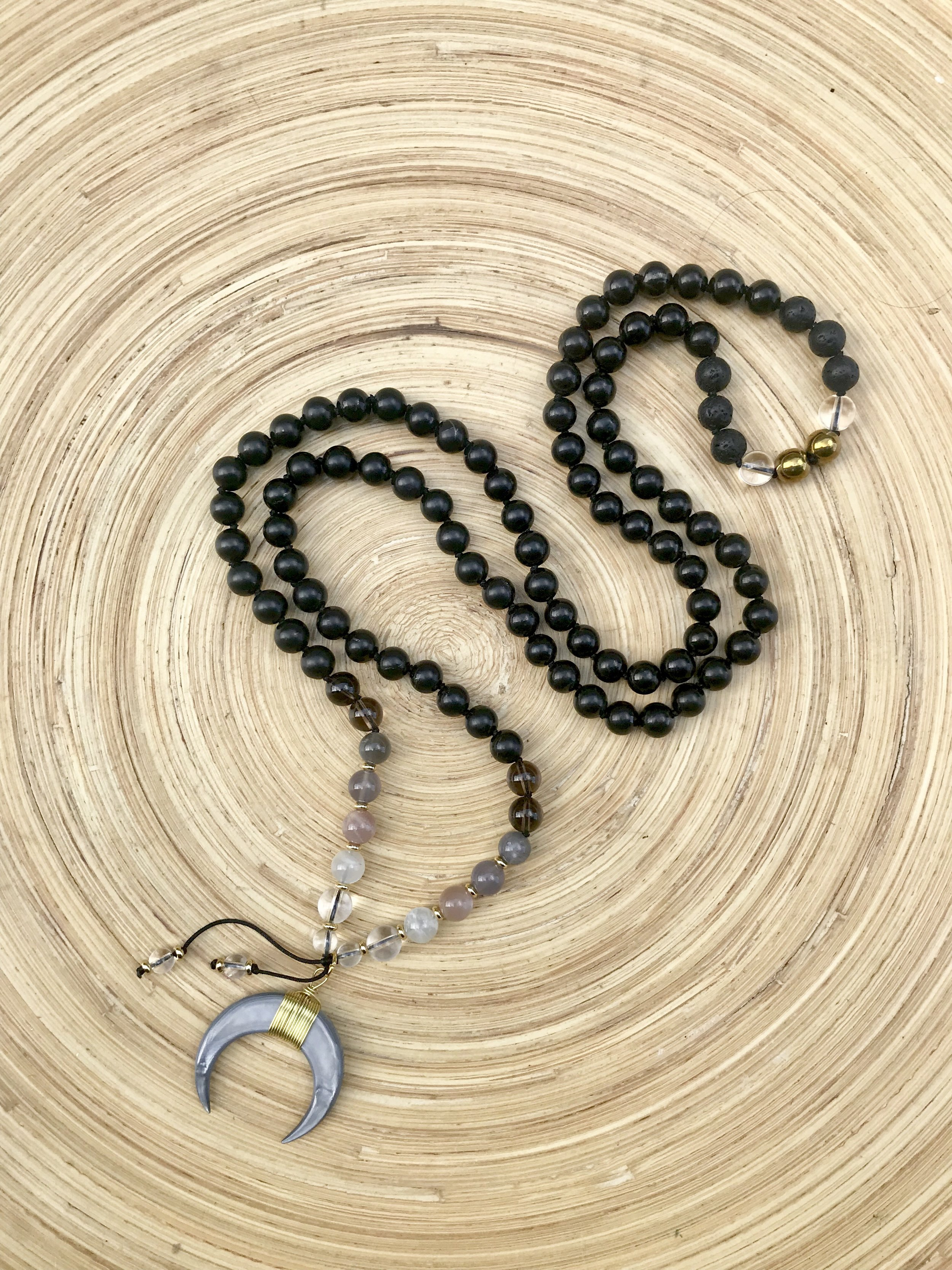 I Am Transformed Mala Bead Necklace made with Shungite and Moonstone