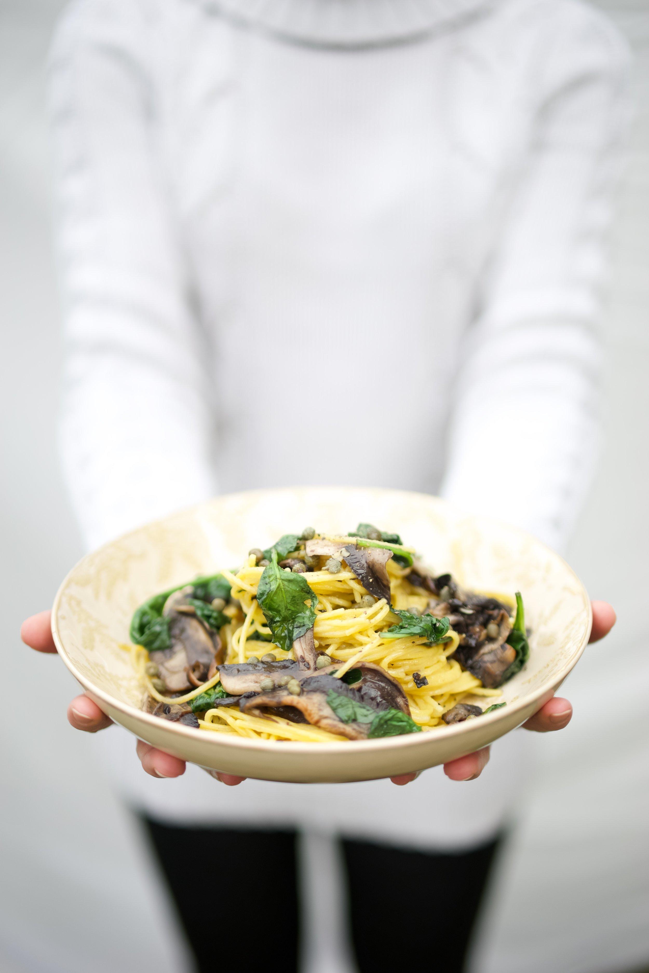 Mushroom, Spinach and Caper Berry Pasta