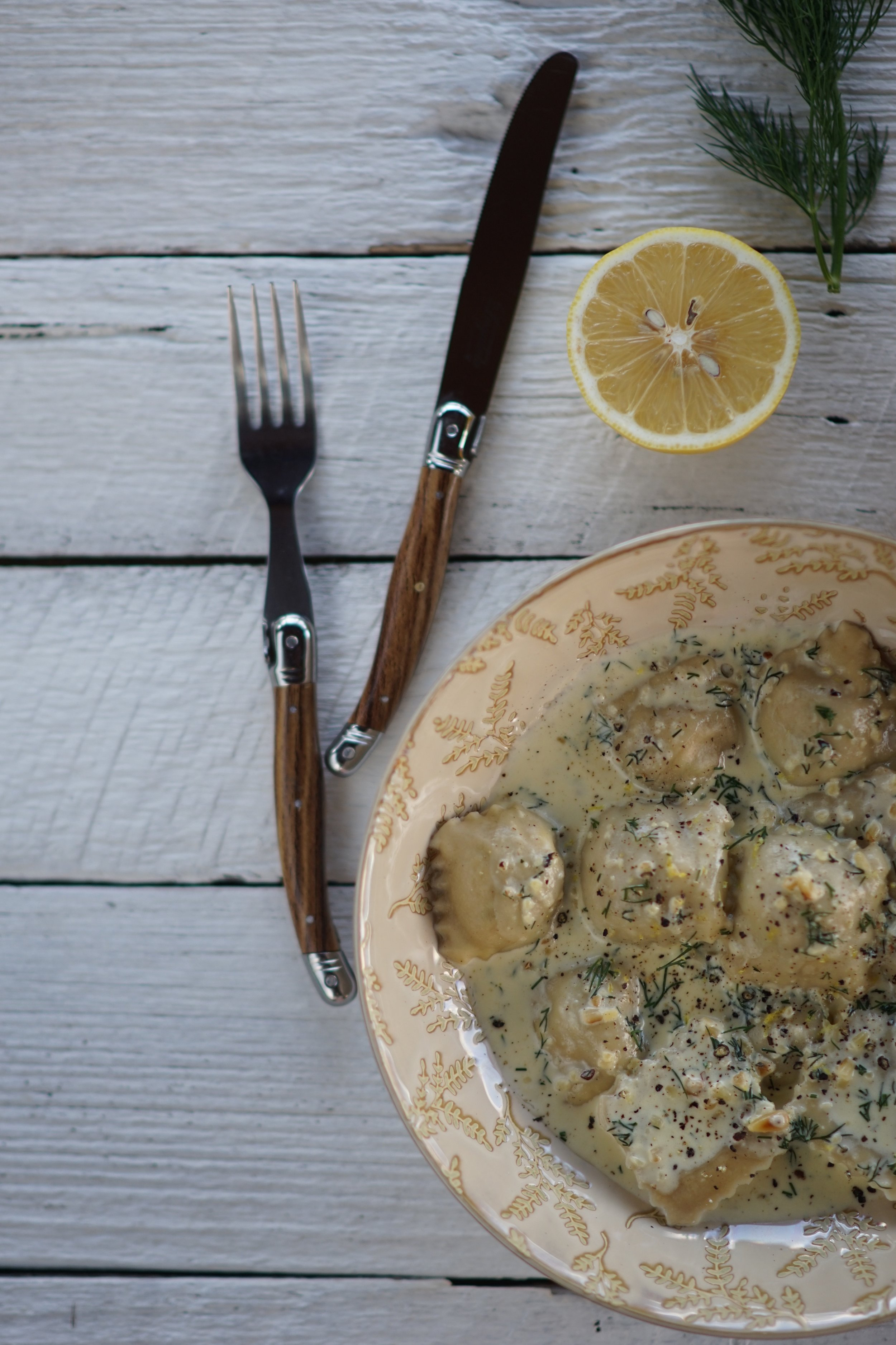 Pine mushroom ravioli