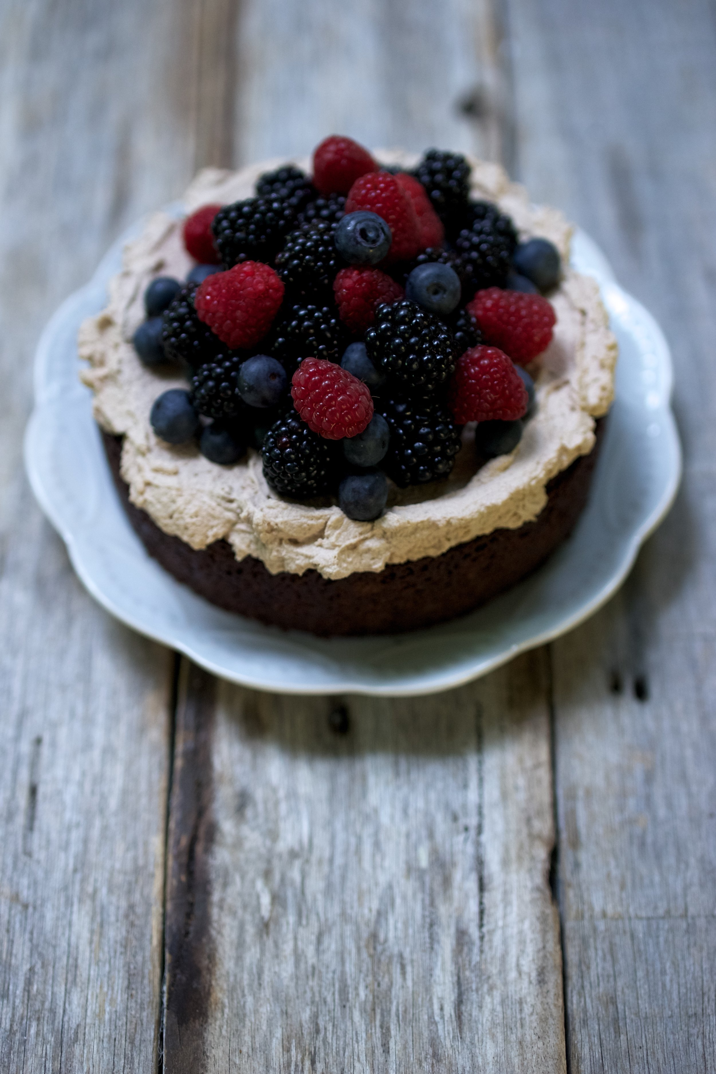 Mud Cake with Mocha Cream and Berries