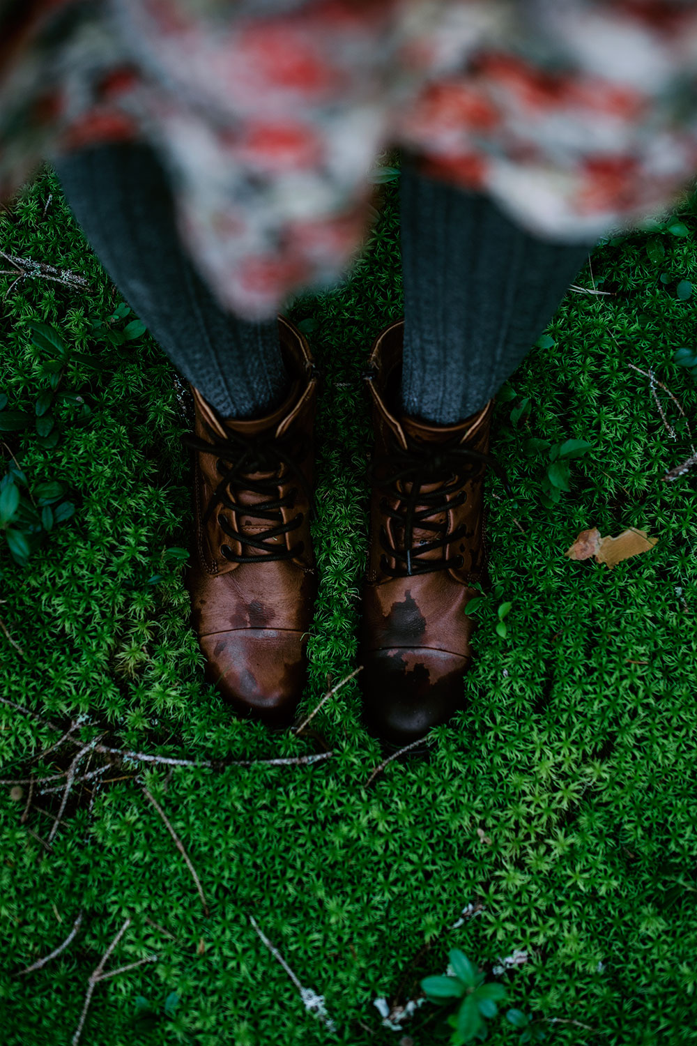 Boots on the moss covered ground