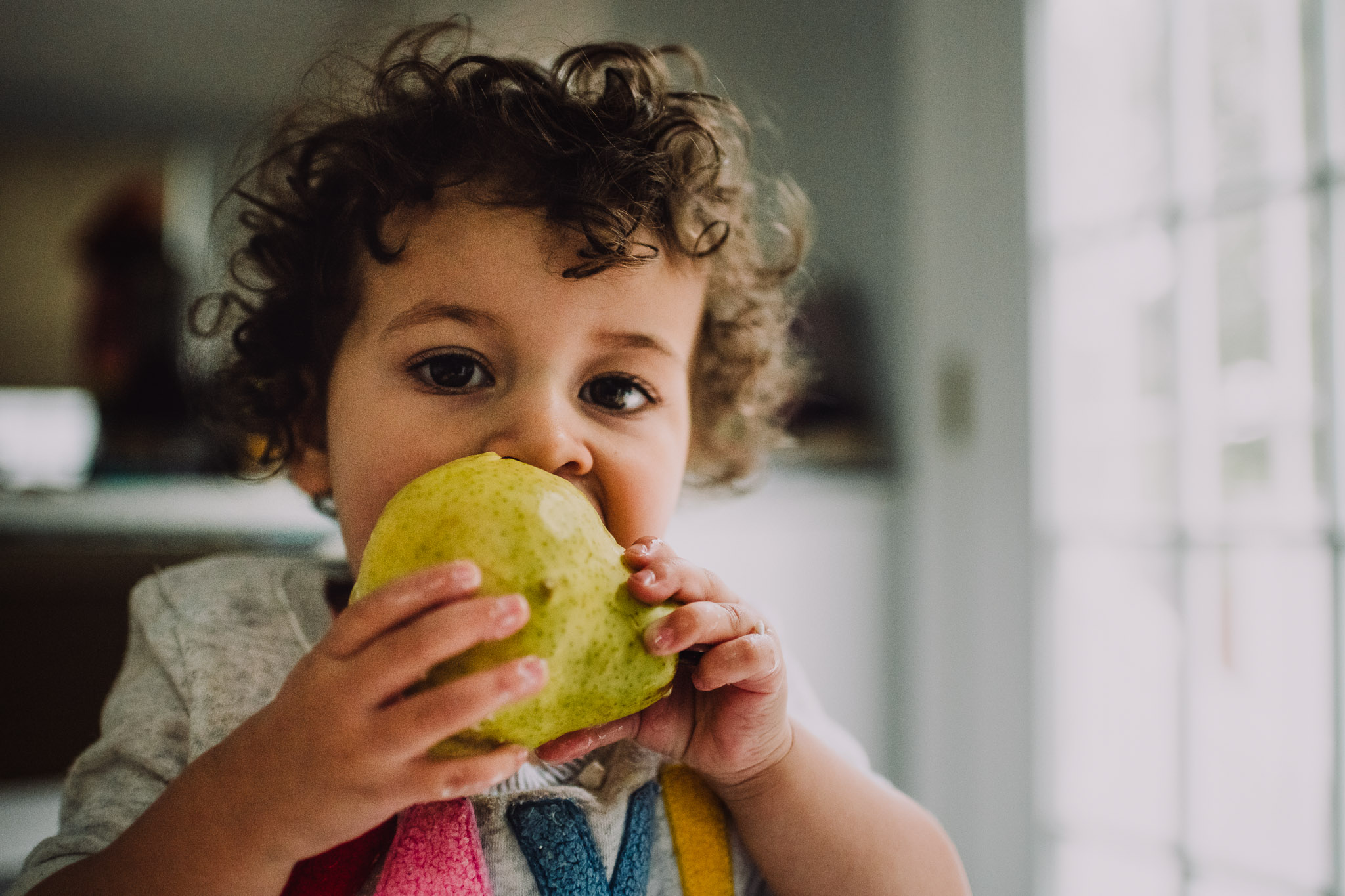 Day 3: She loves her pears.