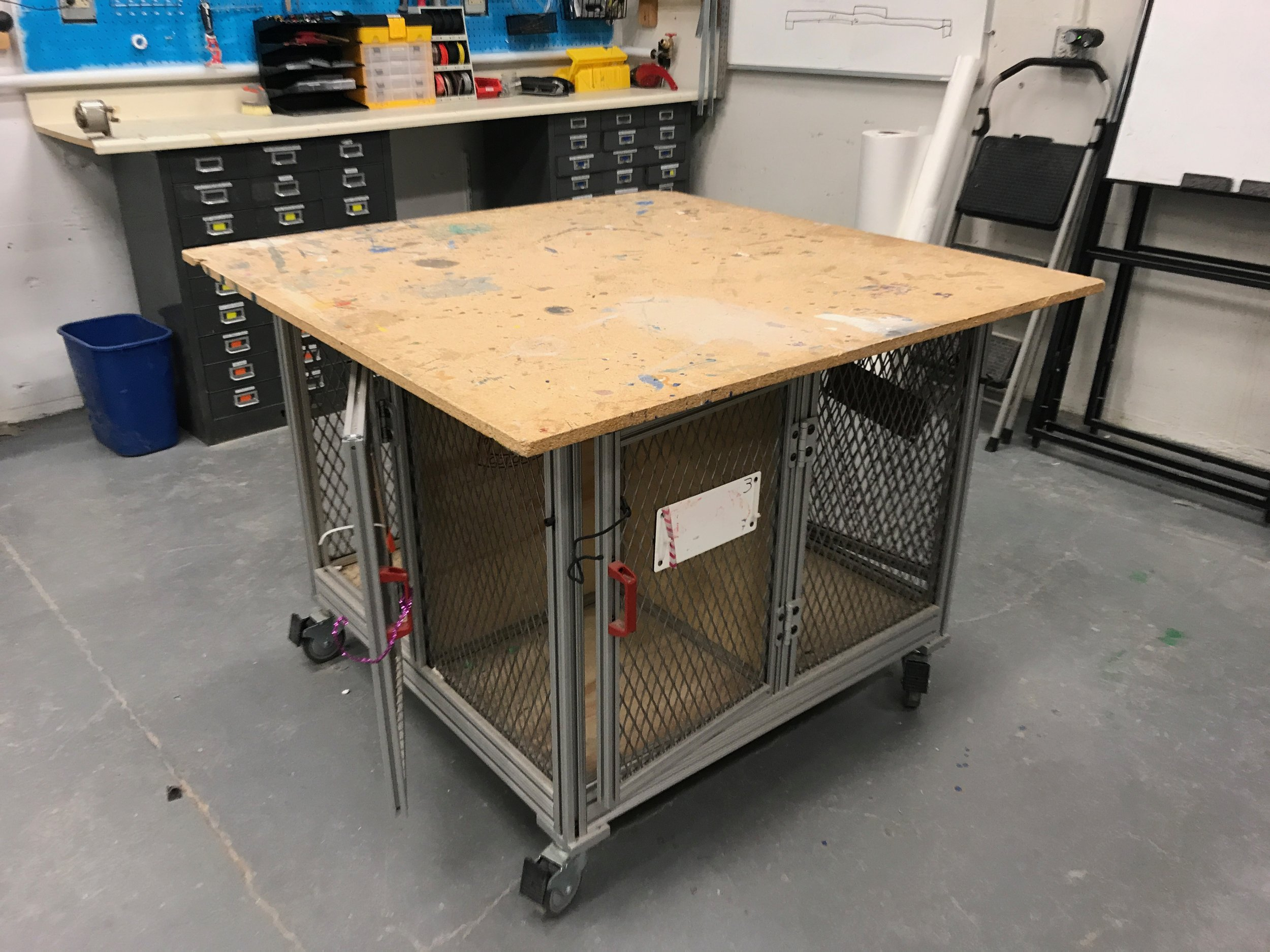 Work Tables with Clamps and Storage Underneath -