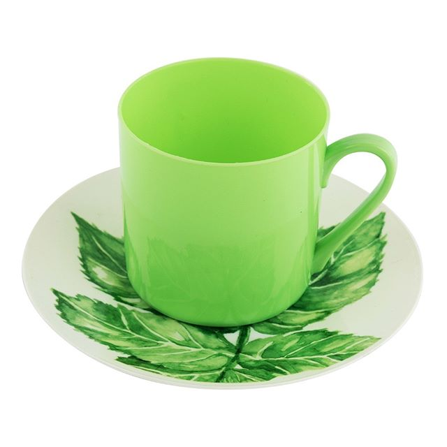 "#Cup and #Saucer Set -  #Elegant #Disposable #Plastic #Dinnerware #Party Supplies -  Real China Look for #Event #Decoration -  6"" #Green #Leaf #Plates -  8.5 oz Green #Tea #Coffee #Mugs with Handle -  #PartyPiks #Vintage #Décor Collection. (Pack of 6 sets, 12 Piece)"