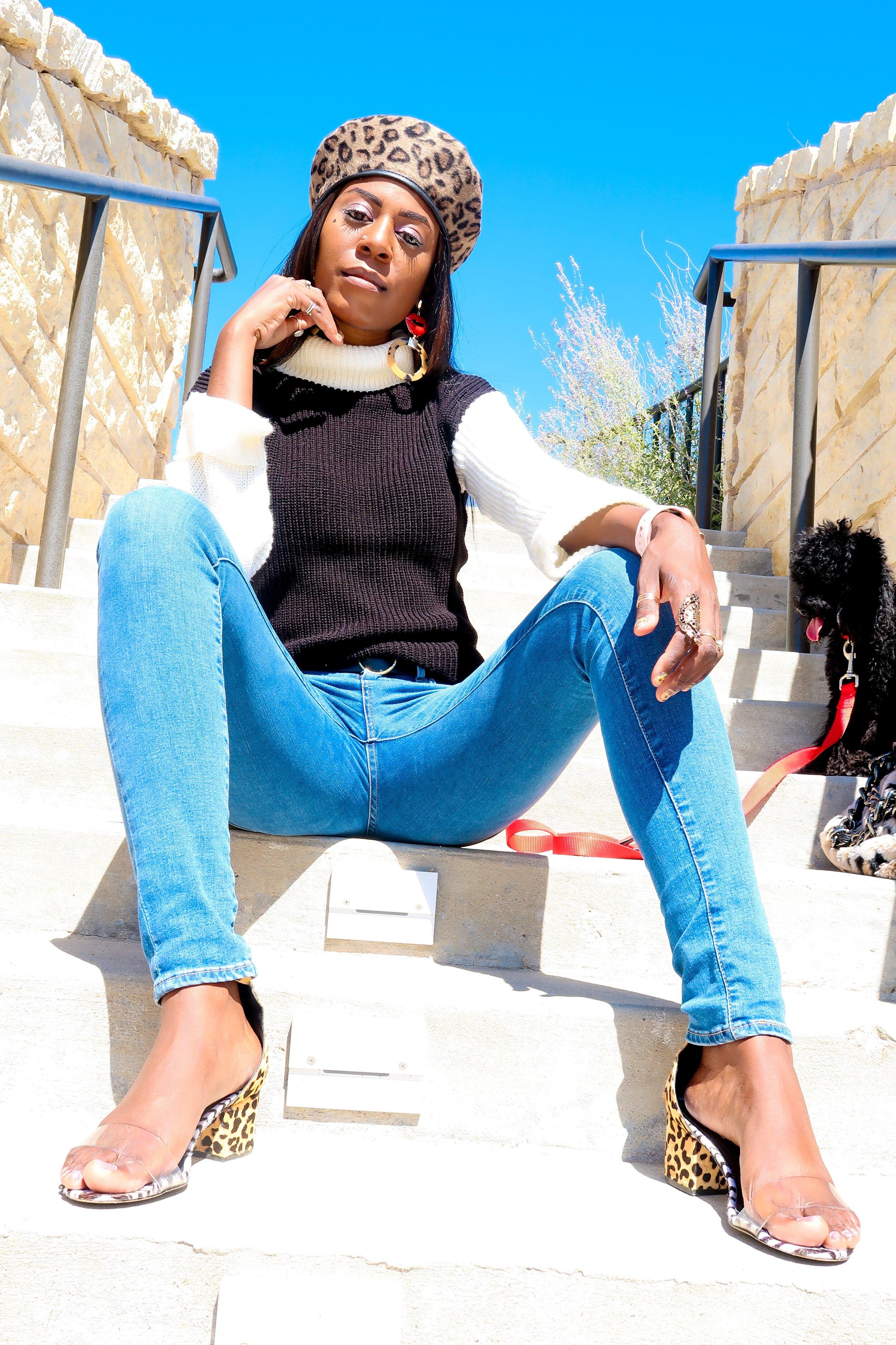 femme luxe BLACK BLOCK HIGH NECK CHUNKY JUMPER DRESS - CELESTE.JPEG