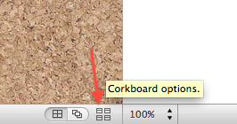 Corkboard options icon.