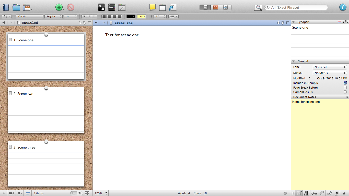 Scrivener three-panel layout.