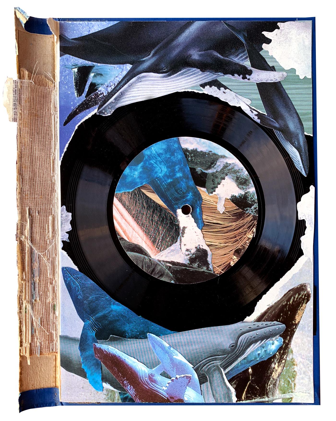 Baleen   (2019) playable collage with vinyl flexidisc on card book jacket