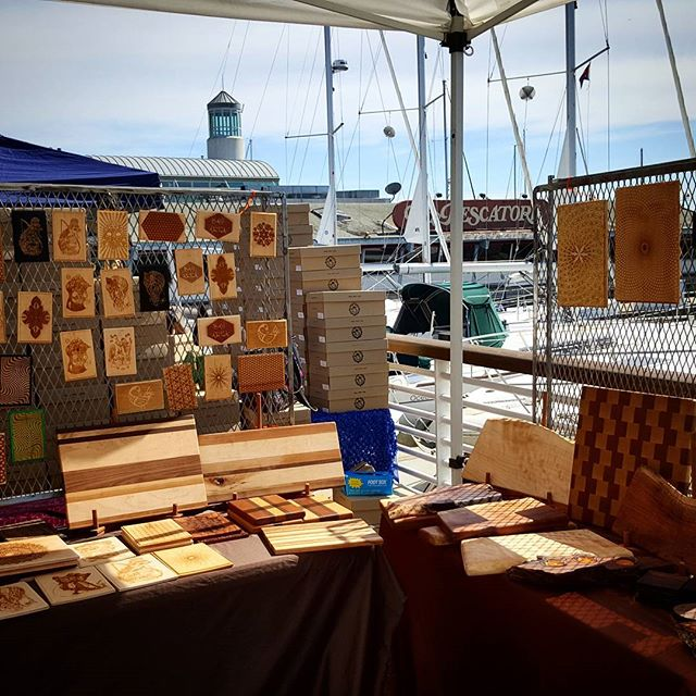 Another great day at @jackofalltrades. #laser cut wood and #art by the bay. Every second #saturday. Catch us next at @treasureislandflea #laserart #artsyfartsy #sfbayarea #oaklandlove #oaklandartists #sfmade