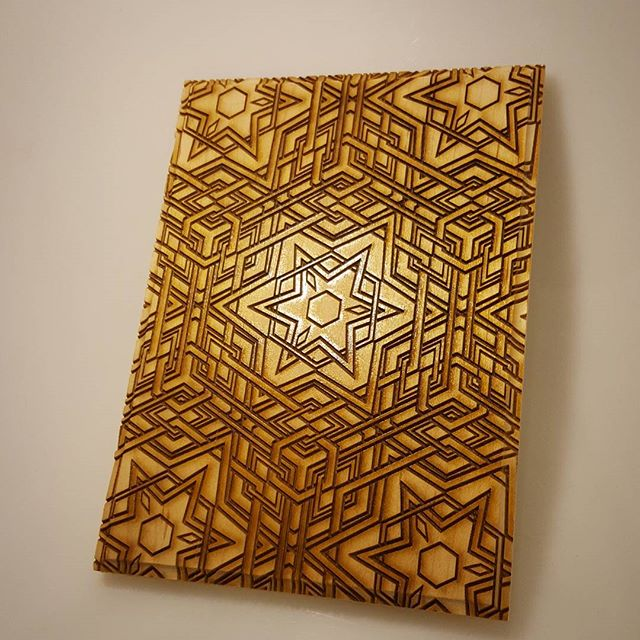 Laser engraved #celtic geometric patterning #instagood #photooftheday #swag #beautiful #sacredgeometry #laser #lasermade #wood