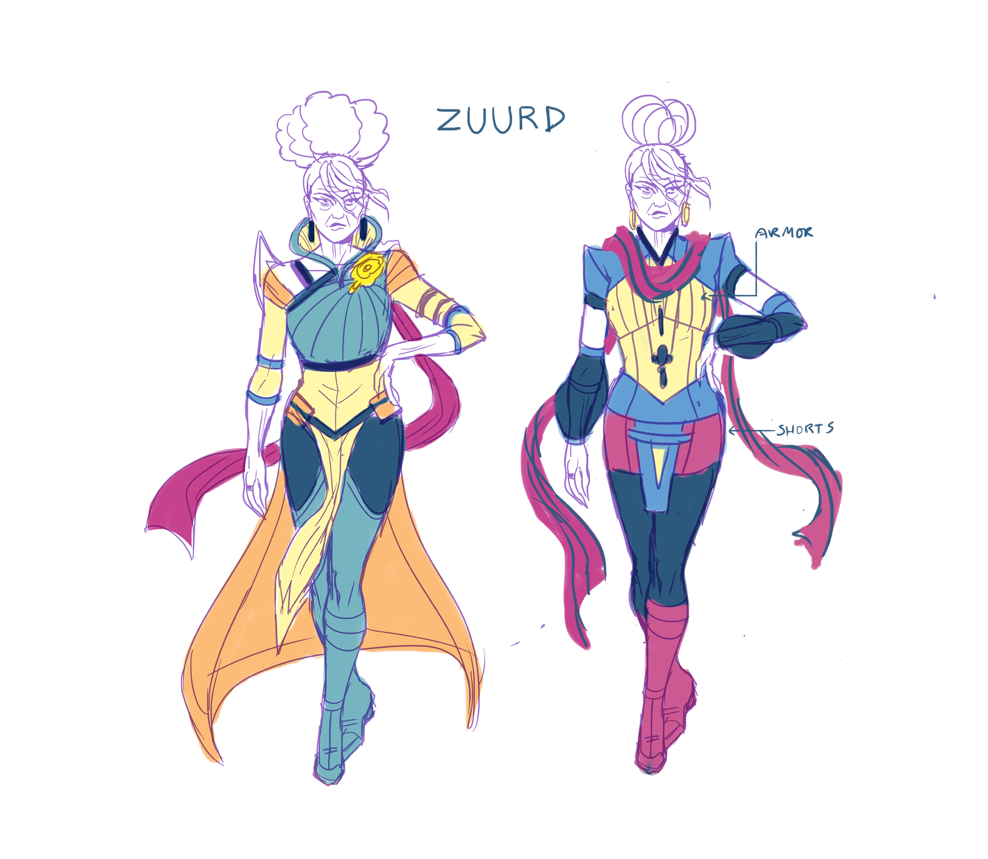 Final Zuurd (right) and costume variant.